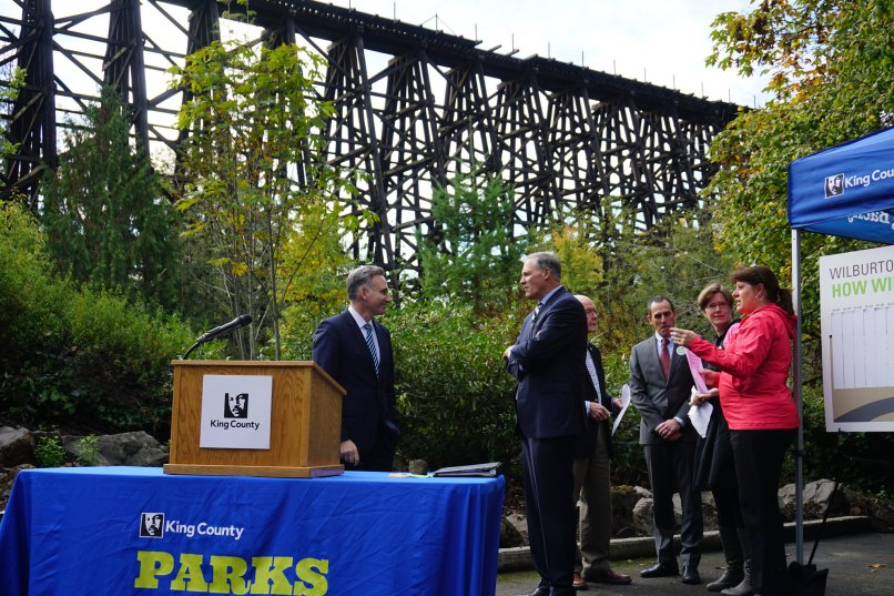 Executive Constantine announced that King County has assembled significant funds needed to repurpose the historic Wilburton Trestle in Bellevue into an elevated trail that provides spectacular views of the Eastside skyline.